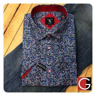 Modango Cotton Short Sleeve Shirt Botanical Denim