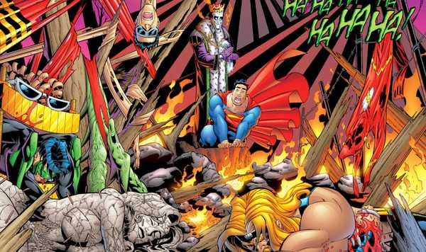 Imperador Coringa mostra ao Homem de Aço a Liga da Justiça Derrotada