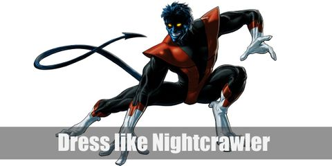 Nightcrawler has yellow eyes, fangs, point ears, and a long tail. He wears a red leather jacket over a black T-shirt and brown pants with bare feet.