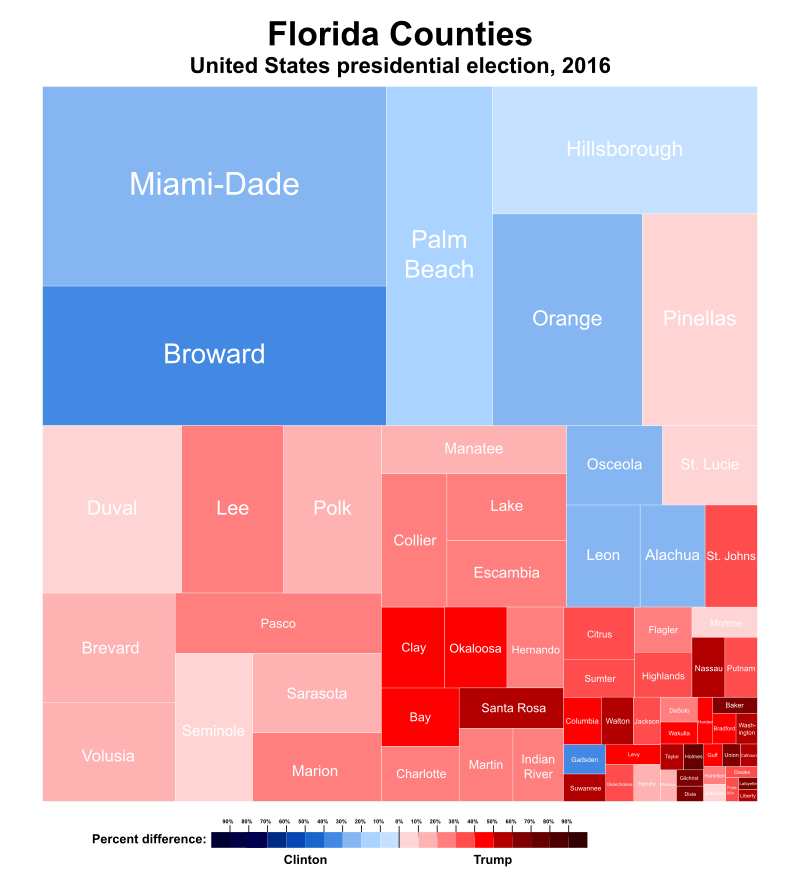 A treemap visualizing vote share in Florida in the 2016 US Presidential Election
