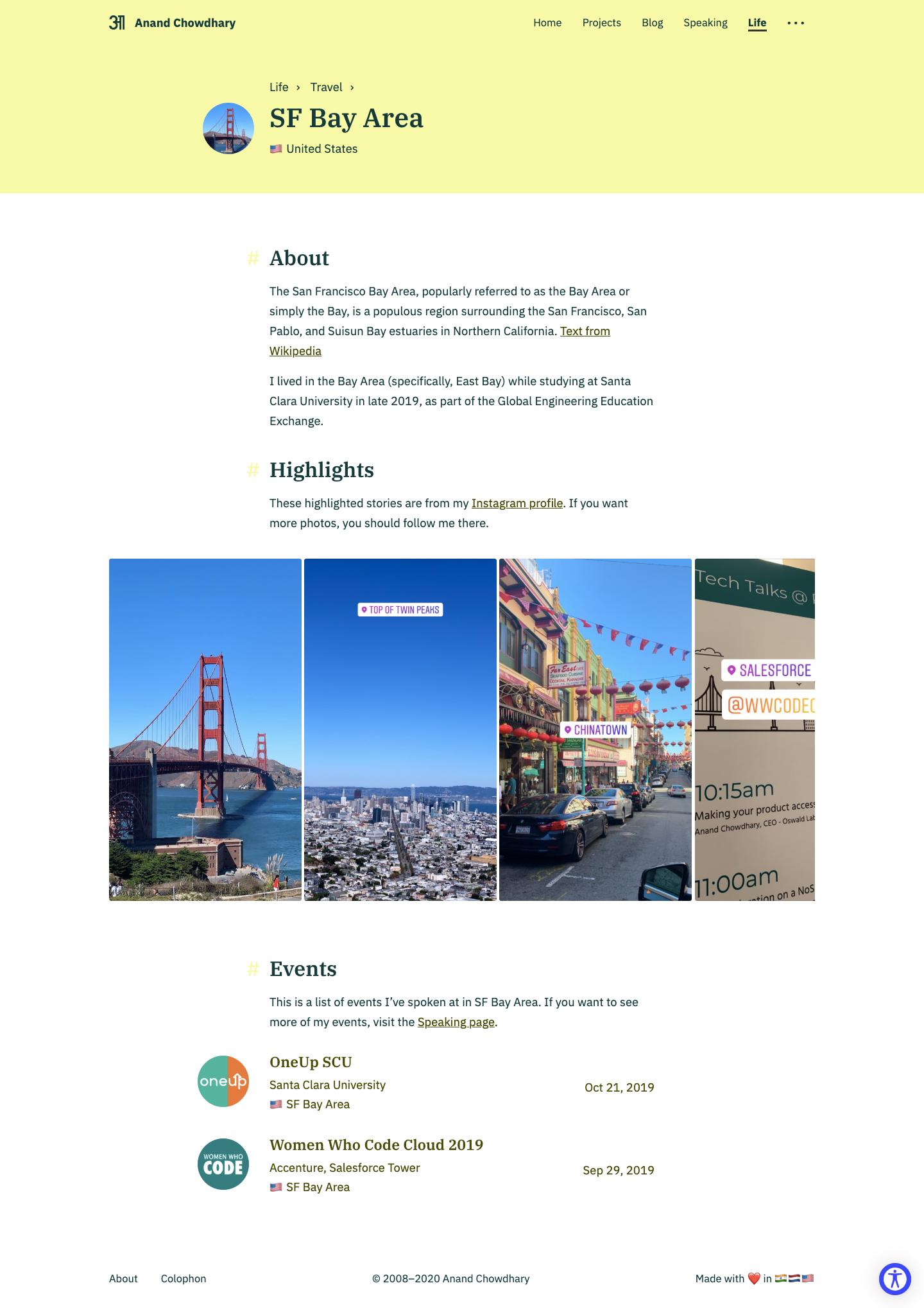 Screenshot of City page