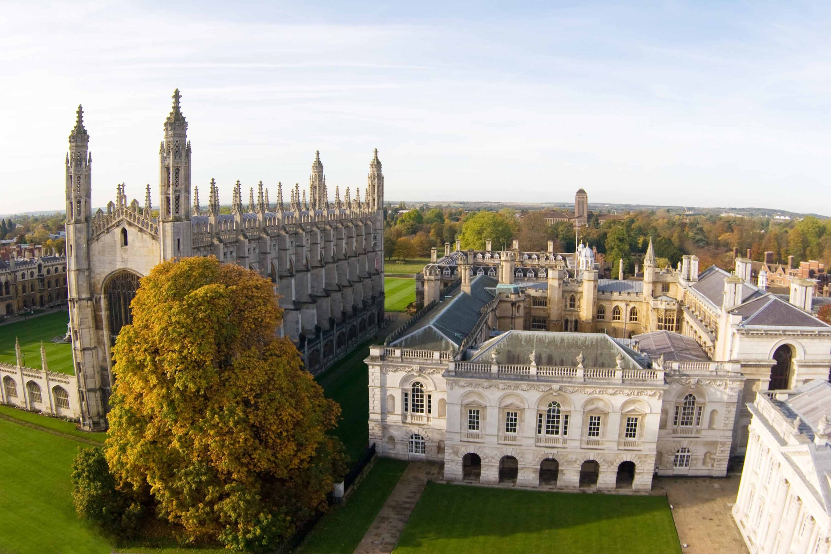 An aerial view of Gibbs Building and King's College Chapel at Cambridge University