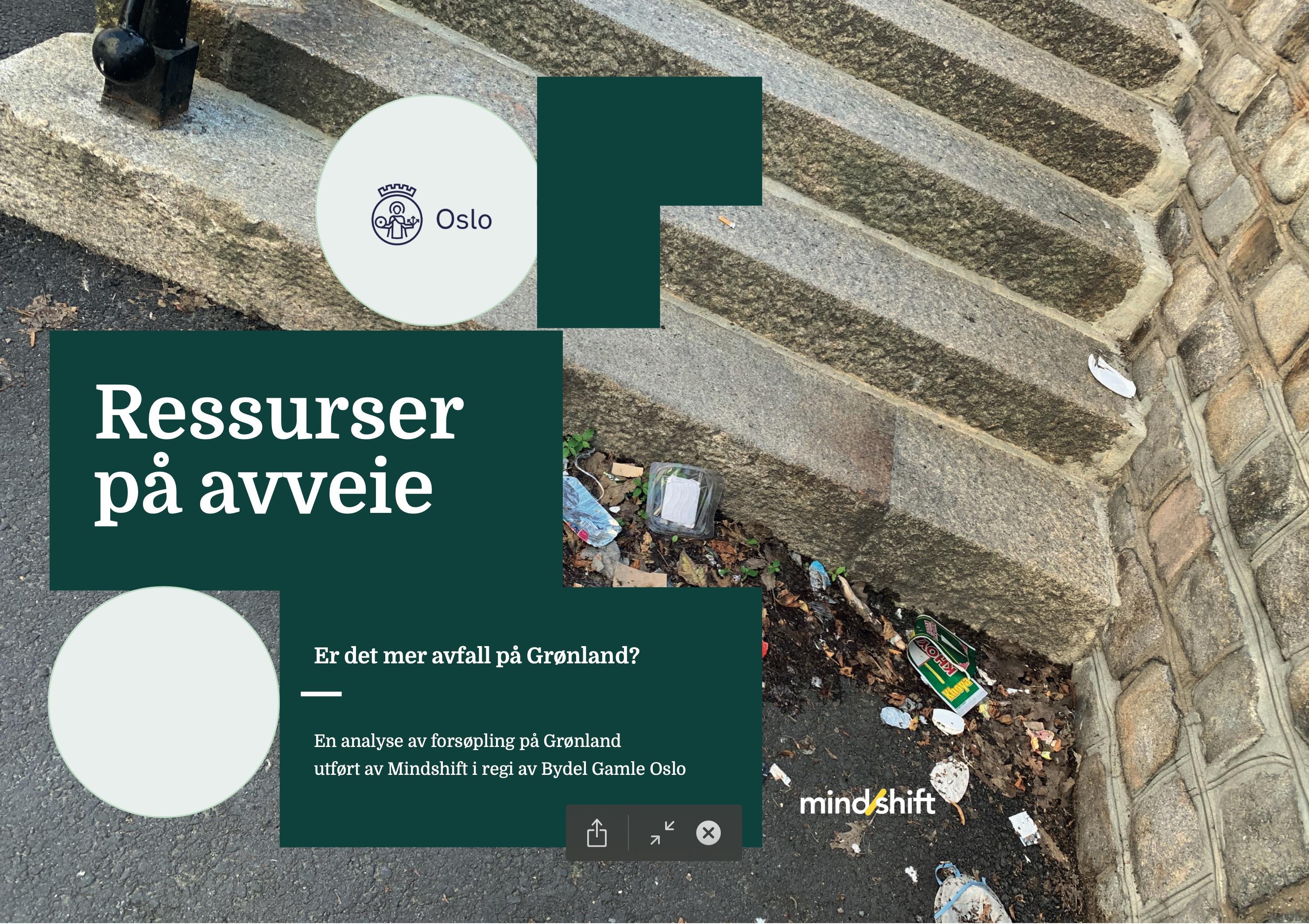 Forsiden på rapporten med tittel Ressurser på avveie, med bilde av en steintrapp med forsøpling ved foten