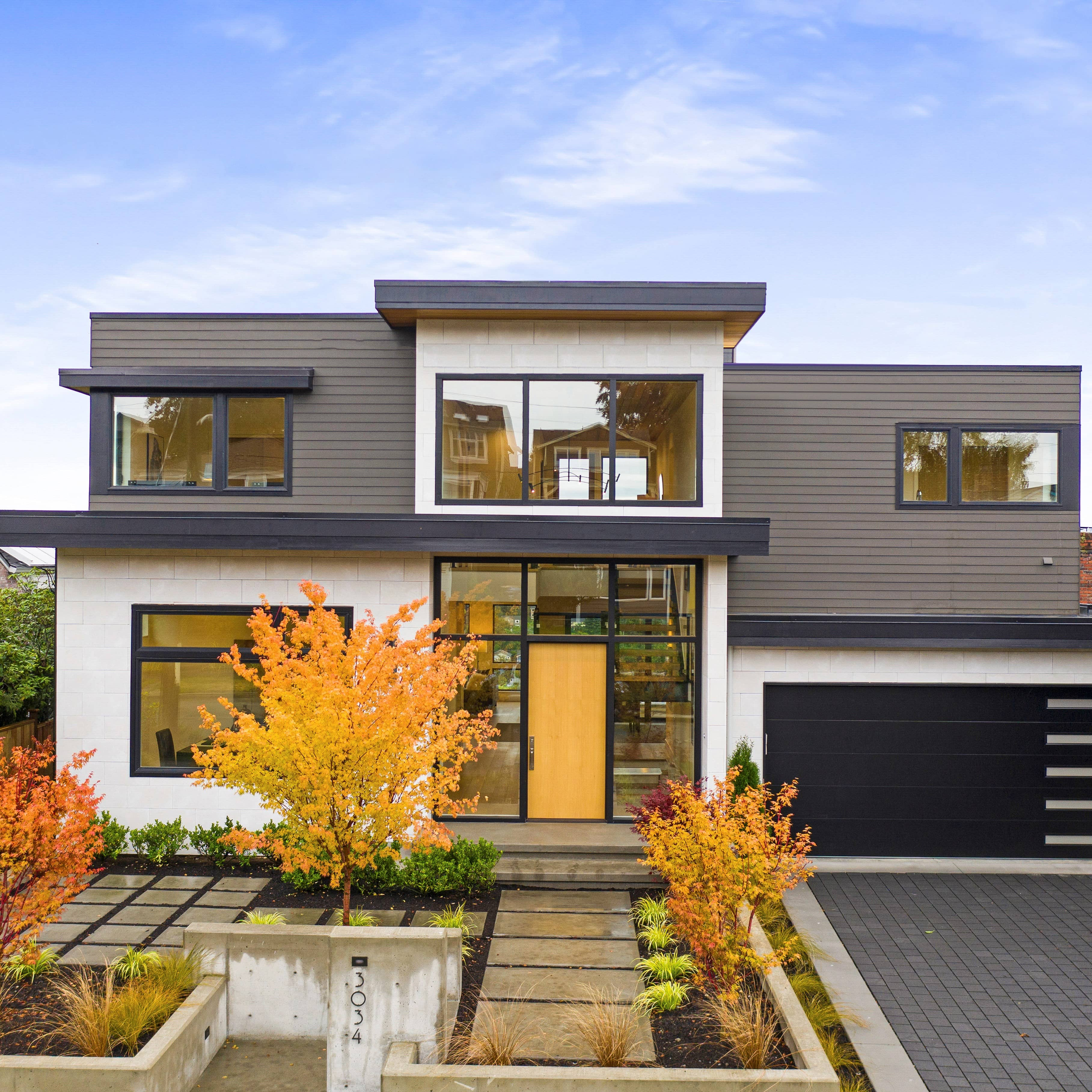exterior painted modern home