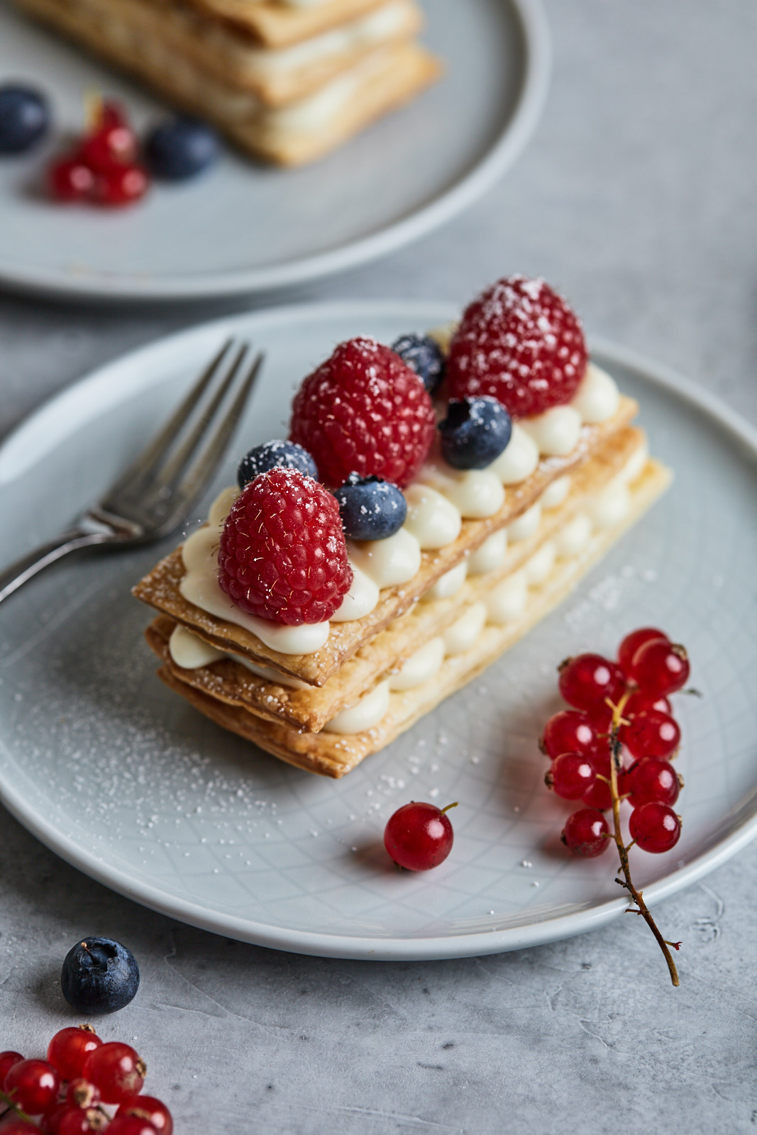 Berry and Creamy White Chocolate and Yogurt Mille Feuille