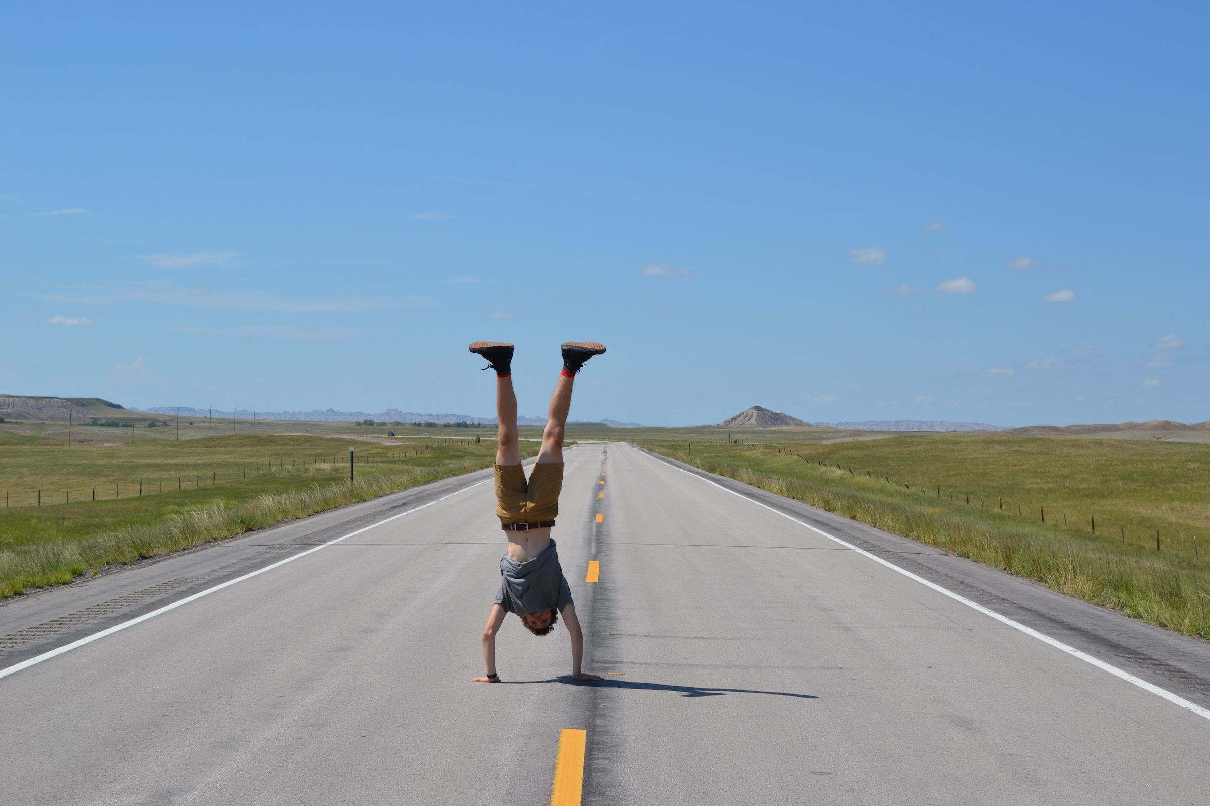 Do a handstand in the middle of the road