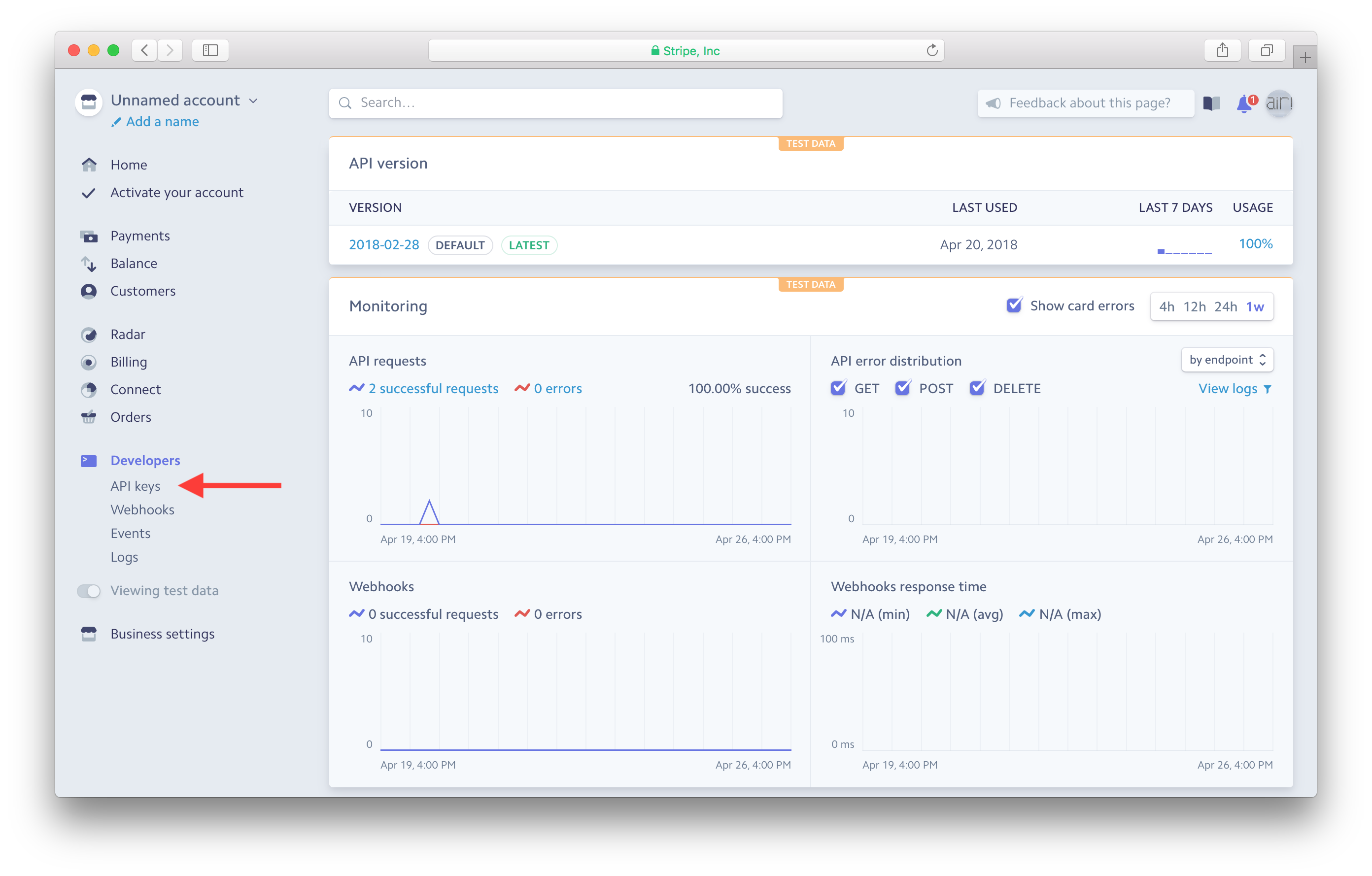 Developer section in Stripe dashboard screenshot