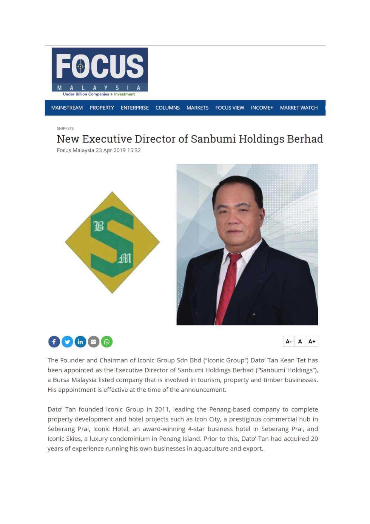 19april23 focus malaysia business new executive director of sanbumi holdings berhad