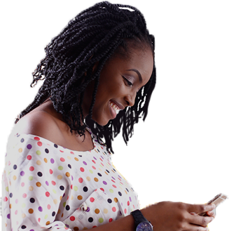 Image of a young woman using the Paga mobile app against an animated background