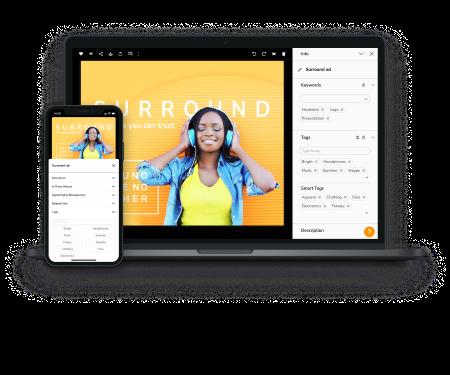 Laptop- und Handy-Mockup mit Canto-Screenshots