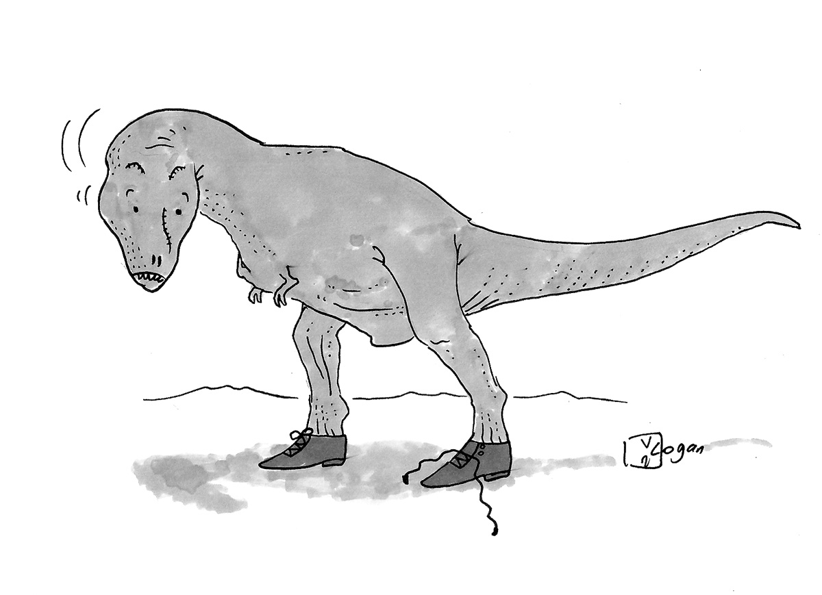 (A T-Rex's shoelace comes untied.)