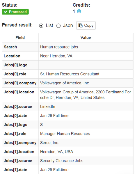 job search parsed results