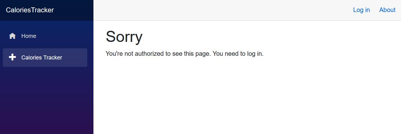 Screenshot of the CaloriesTracker login screen for unauthorized user view