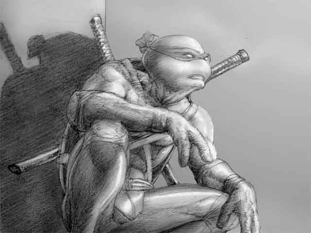 A black and white sketch of Teenage Mutant Ninja Turtle Leonardo