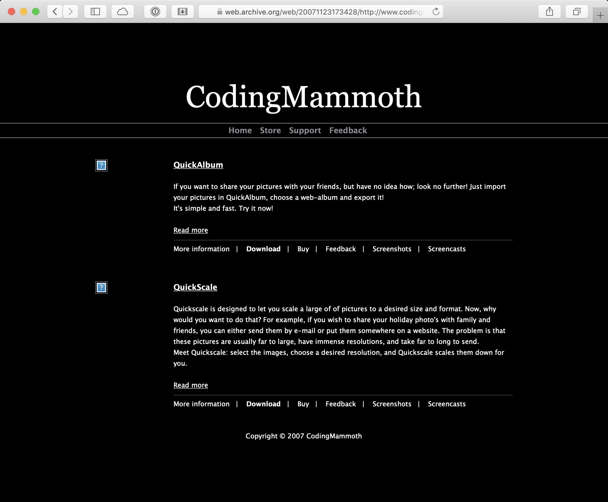 Website Coding Mammoth 2007