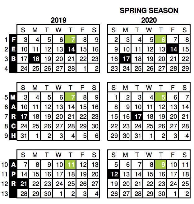 """4-5-4 Calendar"""