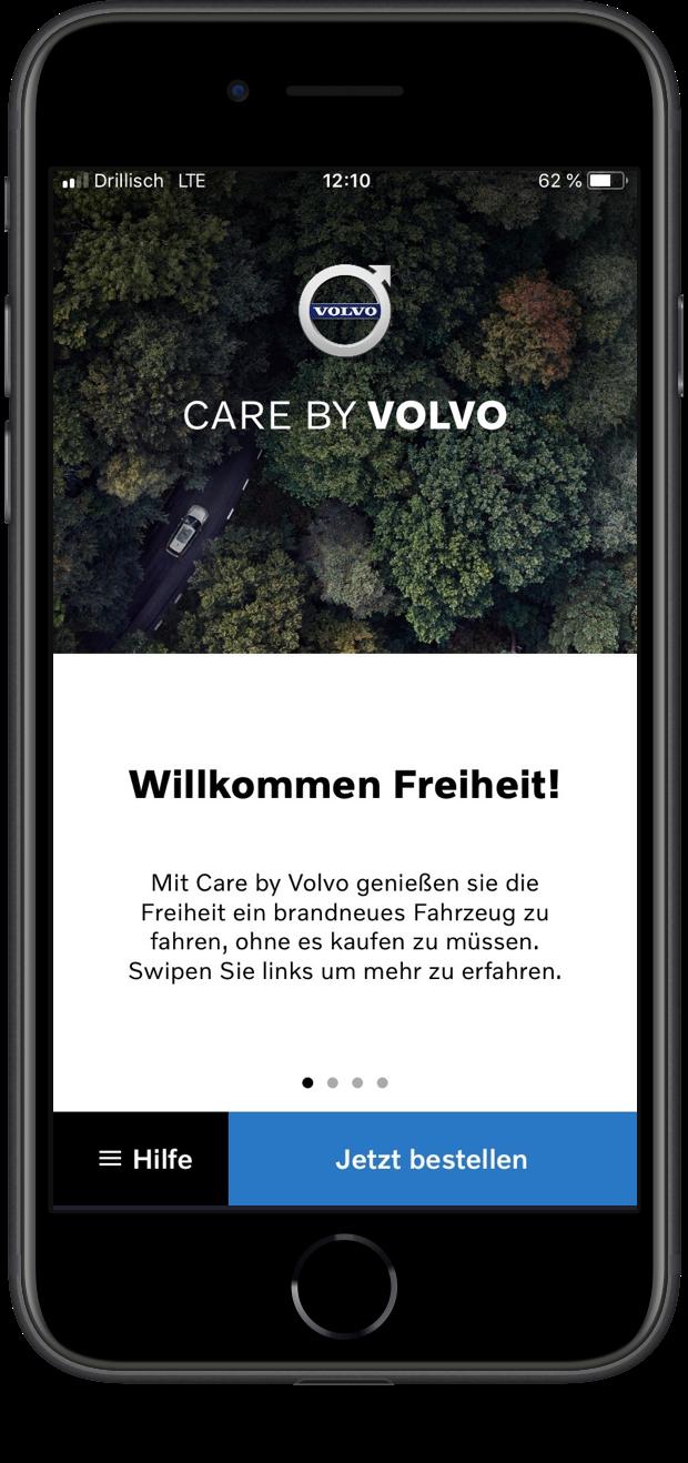 Ein Foto der neuen Care By Volvo App auf dem Apple iPhone