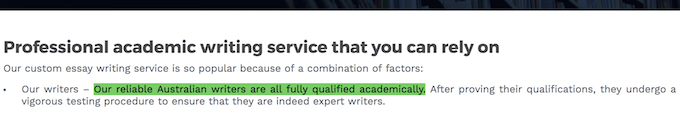 AustralianHelp.com false claim: Our reliable Australian writers are all fully qualified academically.
