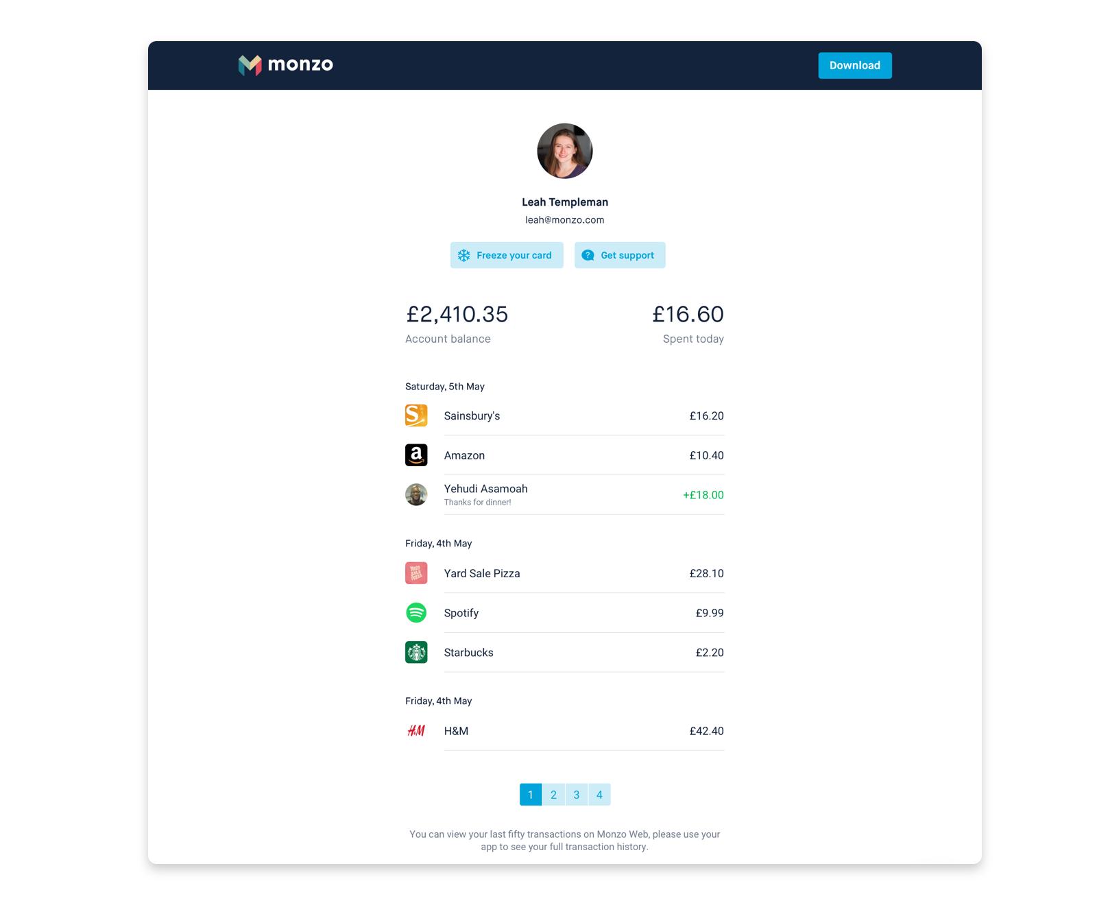 Monzo Web screenshot