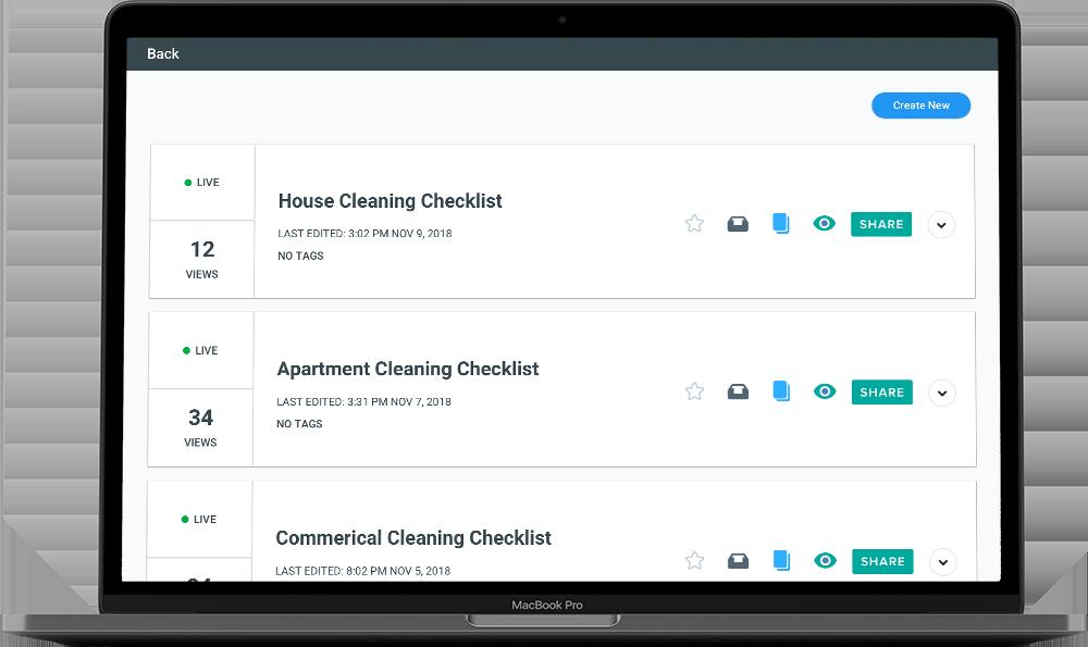 checklist creator screen