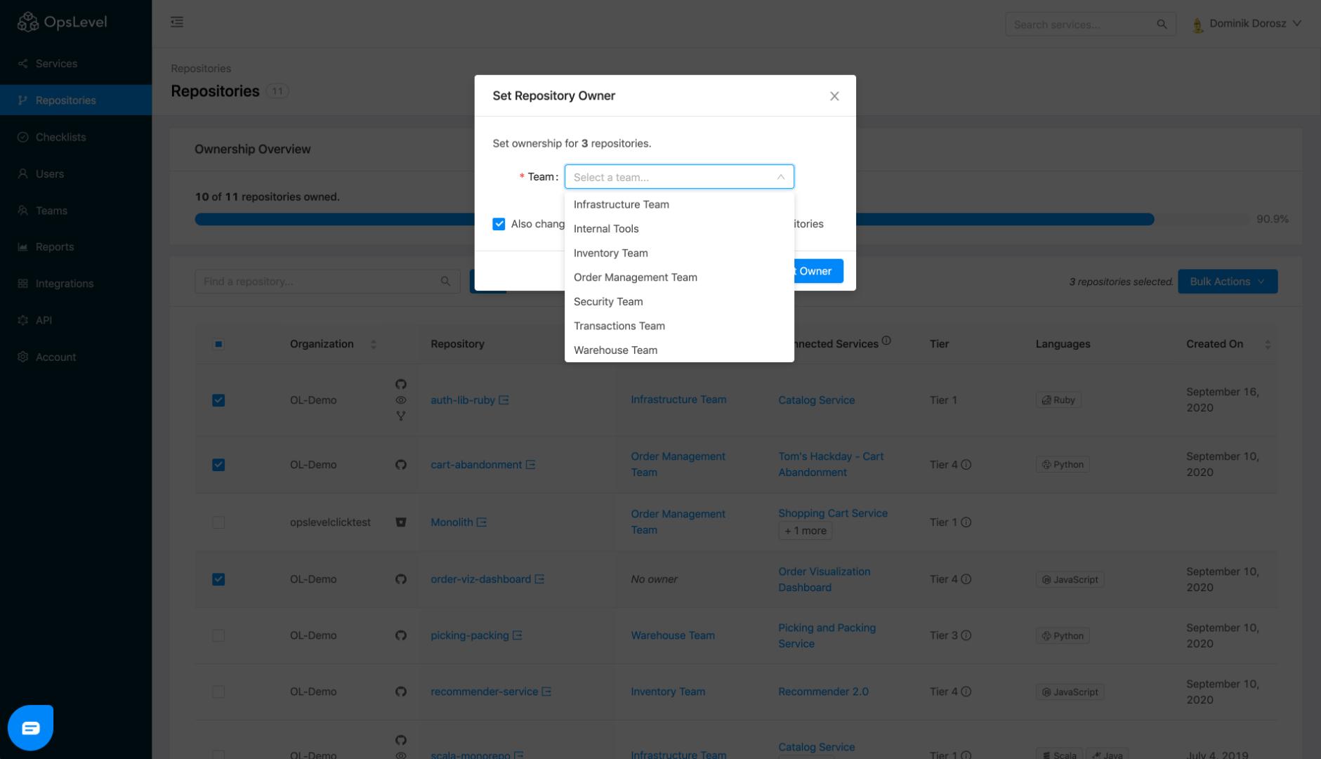Repositories Bulk Action Modal