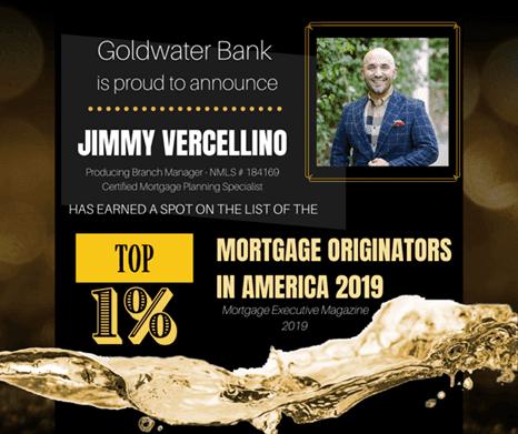 Award for Jimmy Vercellino as top 1% Mortgage Originators in America 2019 from Morgage Executive Magazine