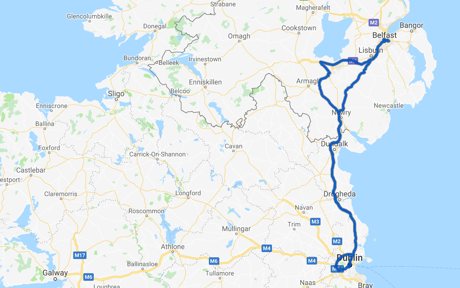 Dublin, Ireland, to Belfast, Northern Ireland, and back