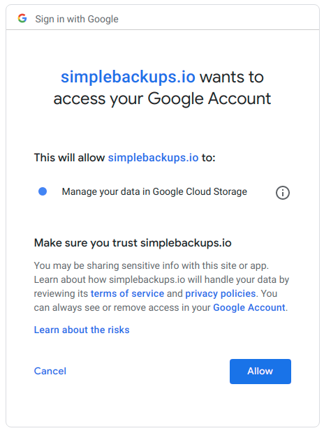 Grant Access to Google Account