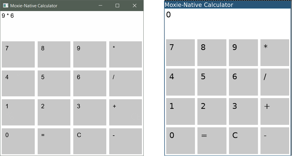 WIP screenshots of moxie-native on windows and linux from nov 2019