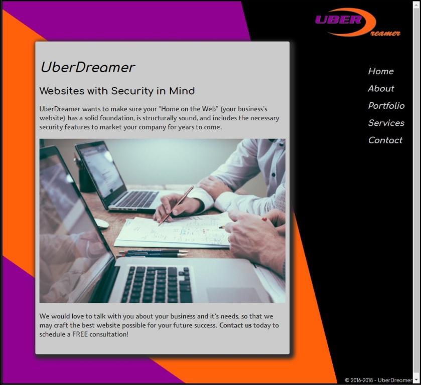 Screenshot of the UberDreamer homepage