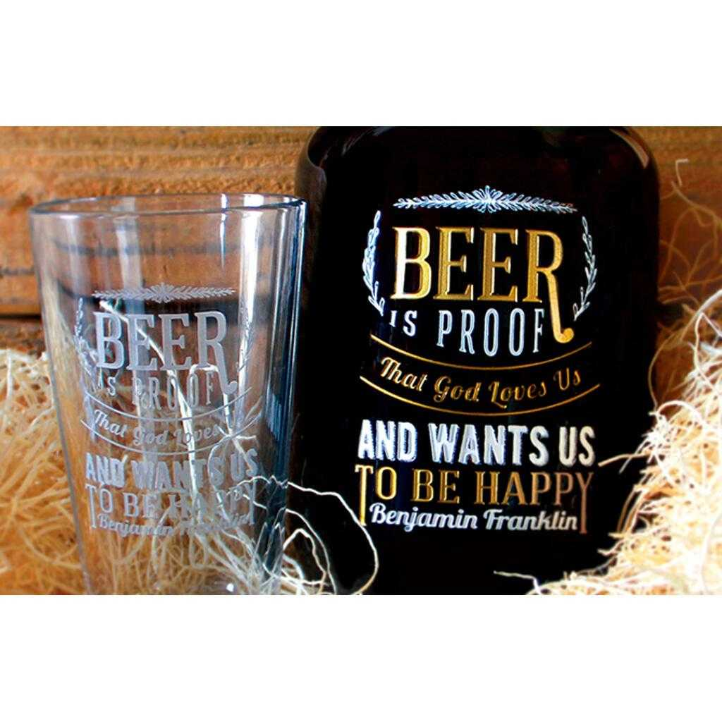 Etched pint glass and custom growler by Etching Expressions