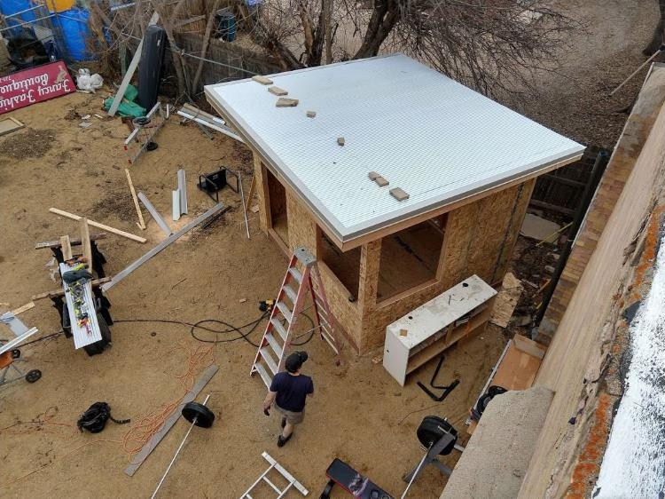 Backyard office aerial view showing a metal sheeting roof, from Mr Money Mustache.