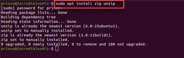 install zip unzip Linux