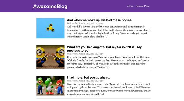 Blog after adding menu to header