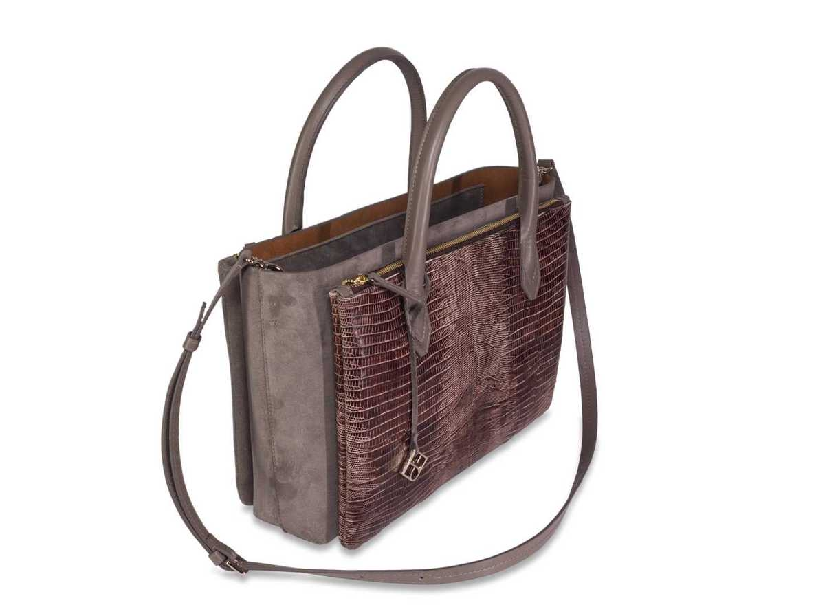 Caya Shopper - taupe + brown lizzard