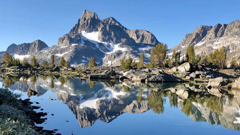 Banner Peak and reflection in a pond