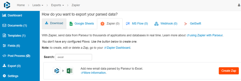 Search for Excel under Zapier