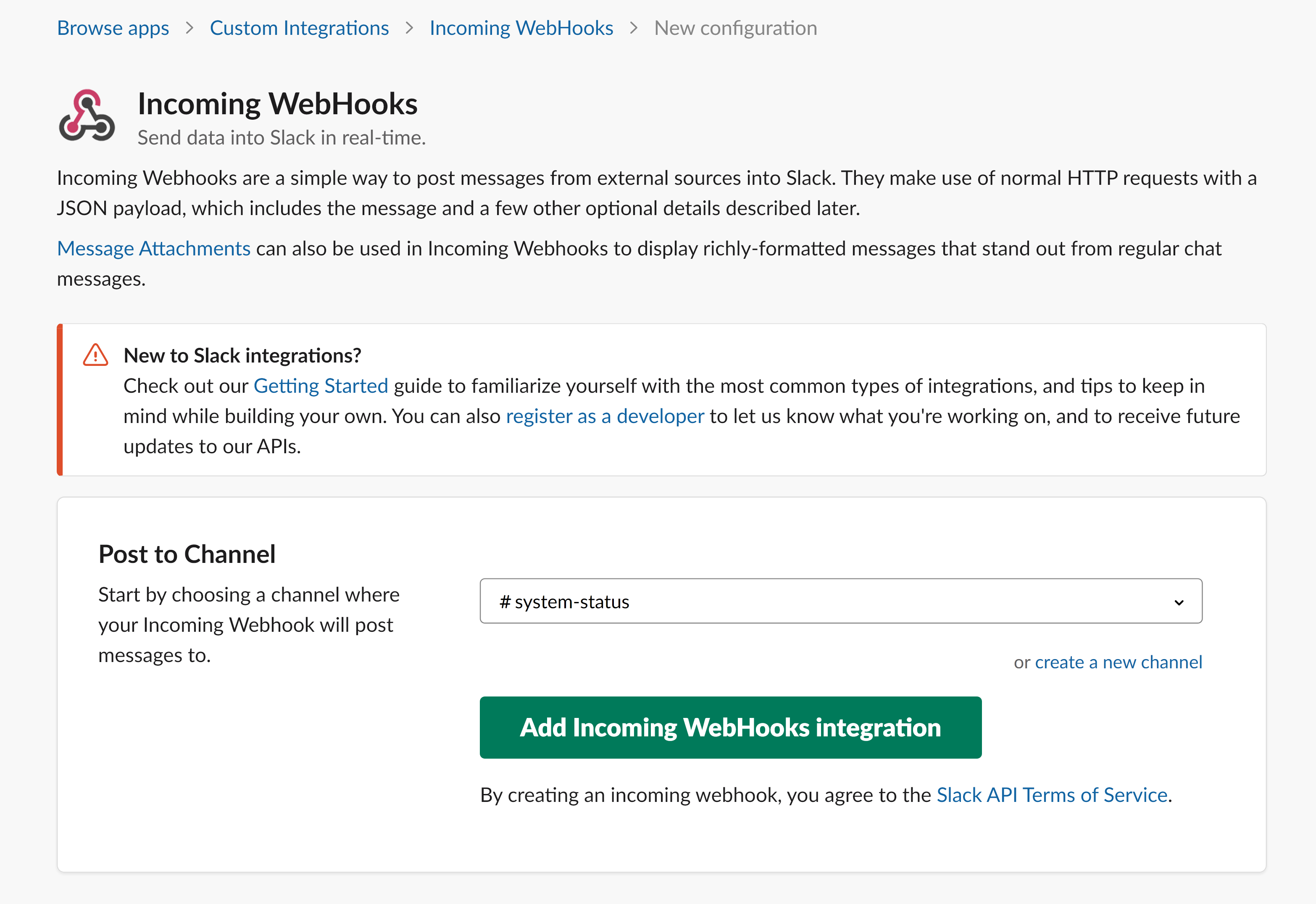 Configure Incoming WebHooks