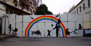 "[""Tomorrow,"" a mural painted by Zeft and collaborators on the wall of Mansour Street.]"