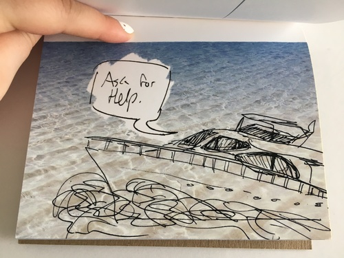 postcard with line drawing of ship on sea photo with voice box reading 'ask for help'