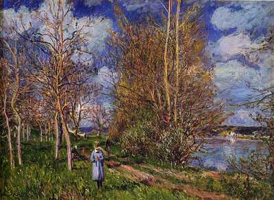 'Small Meadows in Spring', painted by Alfred Sisley c. 1881