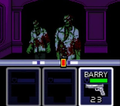 a screenshot of the Resident Evil Gaiden battle system, which Squidge describes as similar to Rock Band