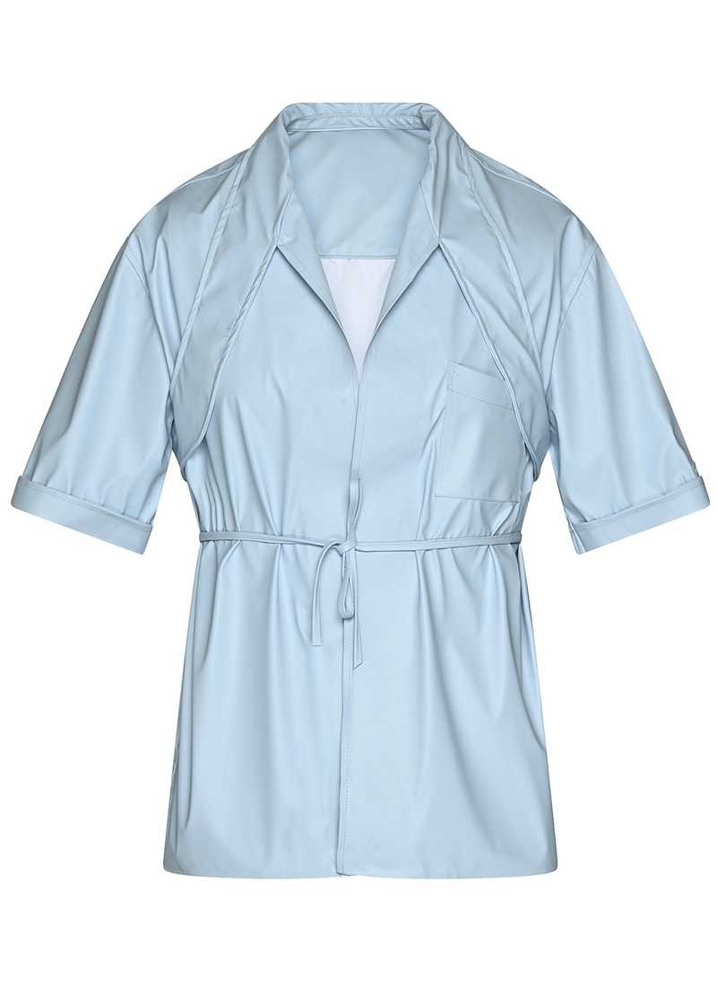 LATIF vegan leather shirt in light blue. GmbH Spring/Summer 2021 'RITUALS OF RESISTANCE'