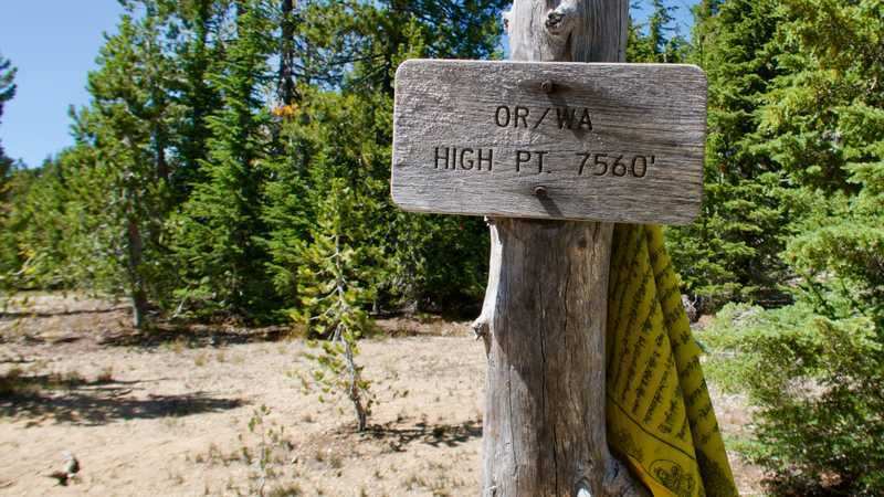 A sign marking the highest point of the PCT in Washington and Oregon