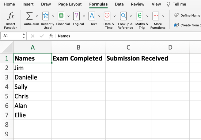 An Excel spreadsheet with three column headings: Names, Exam Completed, and Submission Received. Six names have been entered into column A under Names.