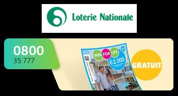 Lotarie Nationale gebruikt een 0800-nummer.