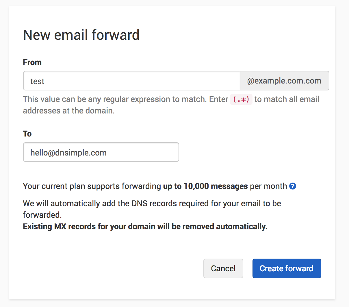 Email forwarding creation