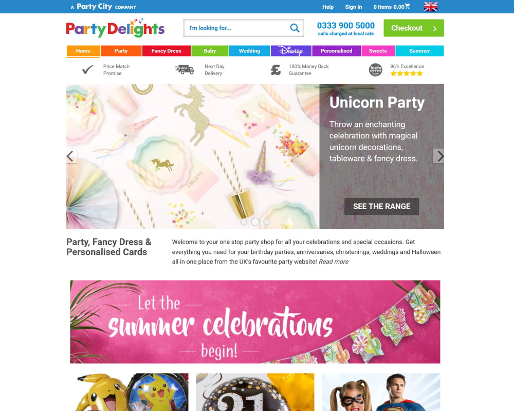 Party Delights website with iterated changes to sliders, and main categories.