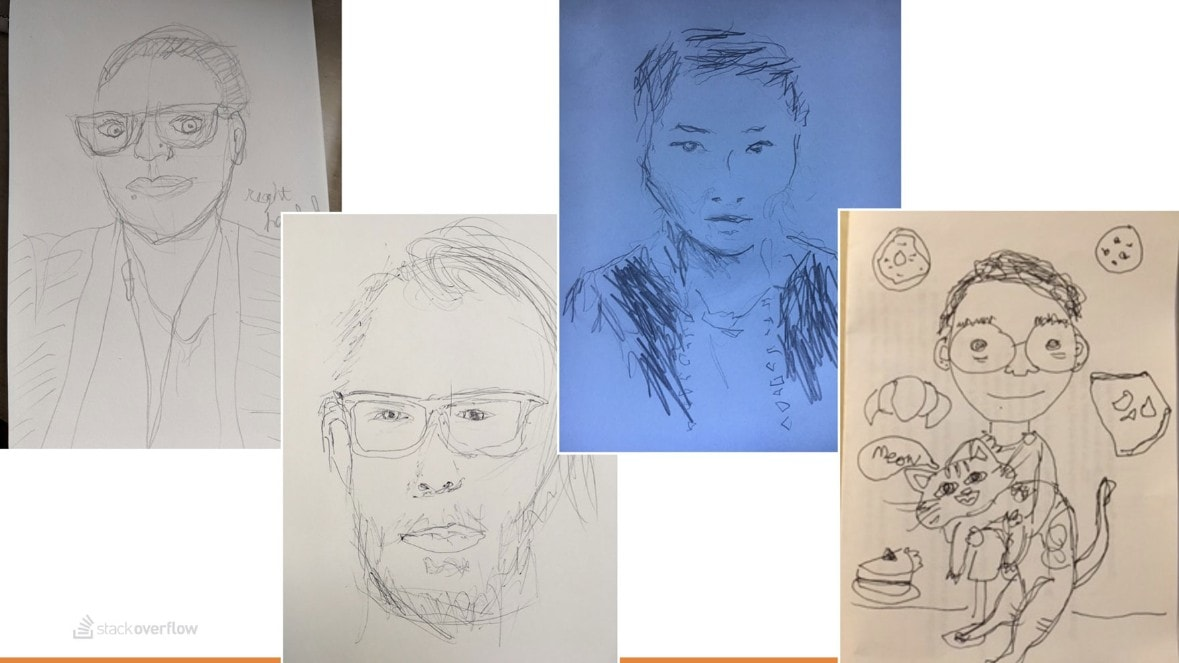 Non-dominant-hand self-portrait examples.