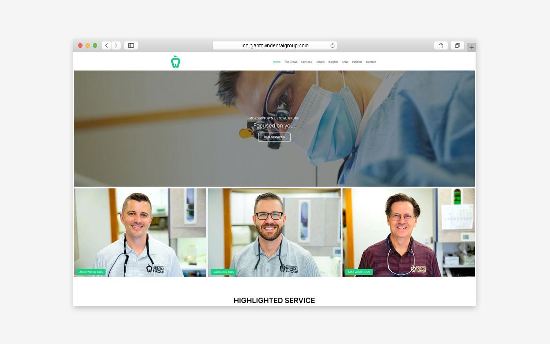 Morgantown Dental Group website - desktop view